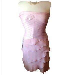 Tadashi Shoji Blush Pink Tiered Silk Chiffon Dress